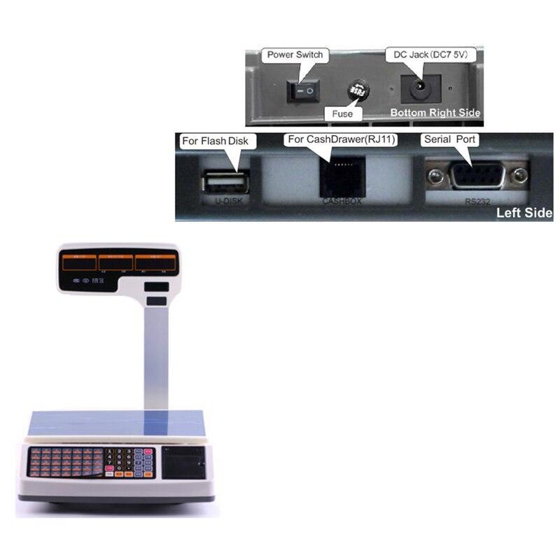 Высокая емкость Электронные цифровые весы с поддержкой чекового принтера Многоязычная печать - 6