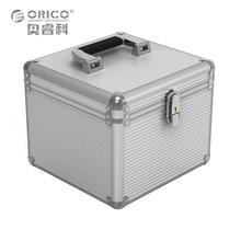 Orico BSC35 Aluminio 5/10 Caja de Almacenamiento caja de Protección de Disco Duro de 3.5 pulgadas con Cierre de Plata