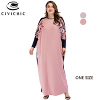 CIVI CHIC Bat Wing Sleeve Loose Robe Femme Vintage Floral Embroidery Maxi Dress Big Size Autumn Jurk Spring Party Vestido DRS194