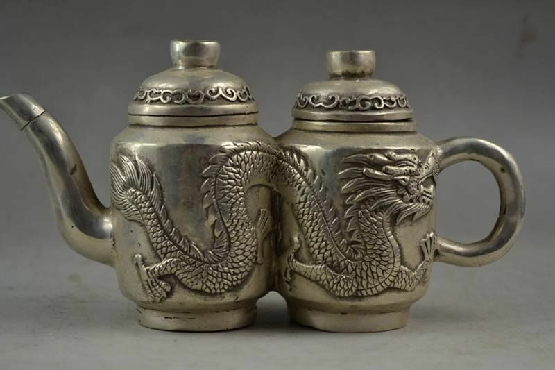 Chinese Tibetan Silver Hand carved Lifelike Pair Dragon Rare Noble Tea Pot Water Pot Wine Pot Decoration Statue|Statues & Sculptures| |  - title=