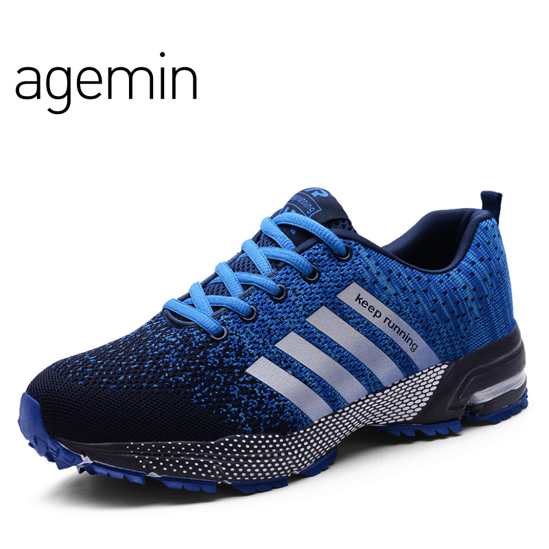 Agemin Summer Fly Weave Camouflage slip on shoes men high quality - Мужская обувь