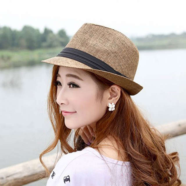 88be266d8 Womens Panama Hats for Men Straw Beach Hat Female Summer with Ribbon Band  White for Girls