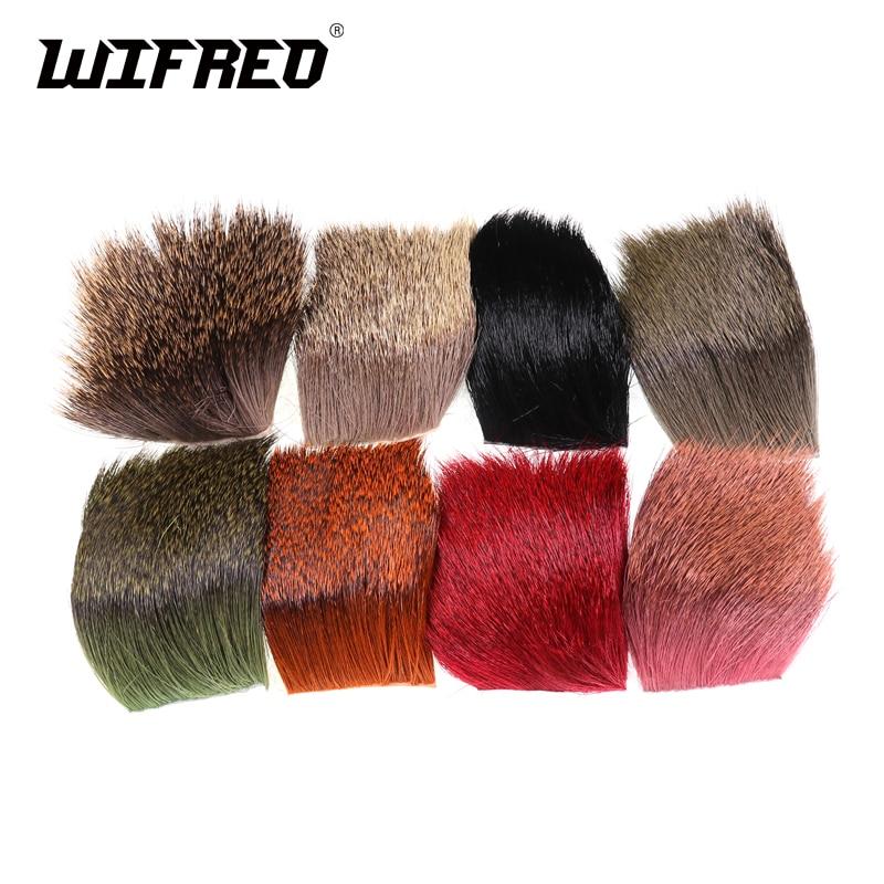 Wifreo 5x5cm fly que amarra remendos do cabelo dos cervos caddis mosca seca que amarra material natural e morreu laranja preto vermelho verde