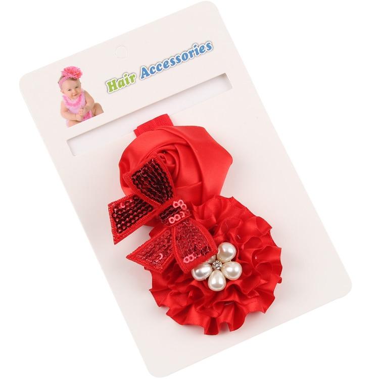 TWDVS Flor recién nacida Banda para el cabello Rosa Perla Elástica - Accesorios para la ropa - foto 2