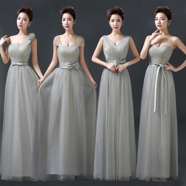 da1bd63601 Plata vestido de dama de gris tulle de La Manga casquillo de dama de honor  estilo