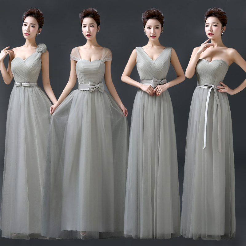 Silver Bridesmaid Dress Grey Tulle Cap Sleeve Maid Of Honor Mixed Style Vestido De Festa Casamento Long Prom Under 50 In Dresses From