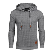 Drop Shipping Plaid Hoodies Men Long Sleeve Solid Color Hooded Sweatshirt Male Hoodie Casual Sportswear US Size Free Shipping