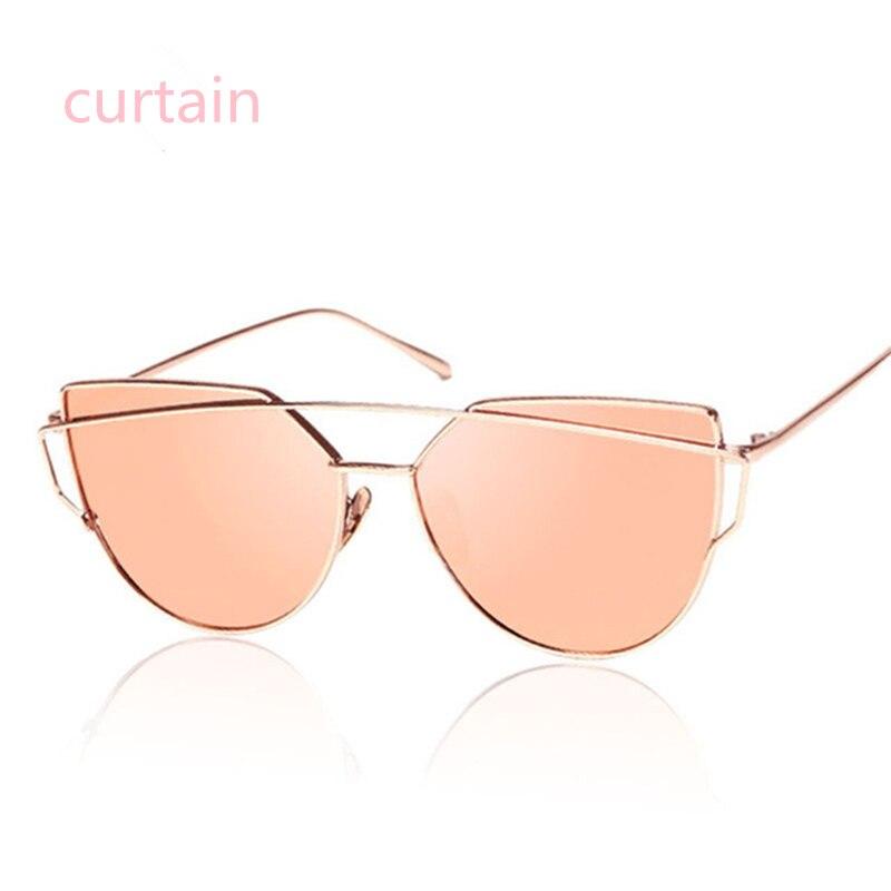 Nové kočičí brýle pro oči ženy Vintage módní růžové zlato zrcadlo sluneční brýle jedinečné ploché dámské sluneční brýle Oculos UV400