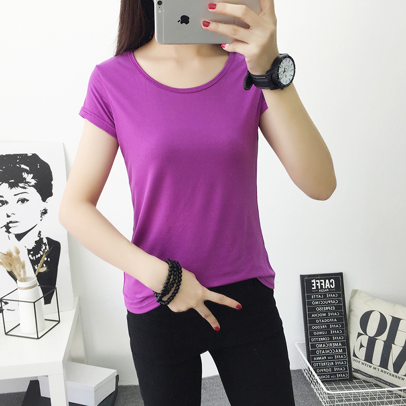 2018 Frühling Sommer Oansatz Frauen Shirts T-shirts Frauen Tops & Tees Grundlegende Hemd Frauen T Shirt Baumwolle Feste Farbe Lila
