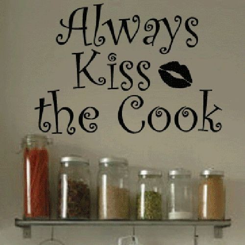 Cacar Wall Decal Art Sticker Quote Vinyl Cute Kitchen Kiss Cook Wall Quote Decor Decal