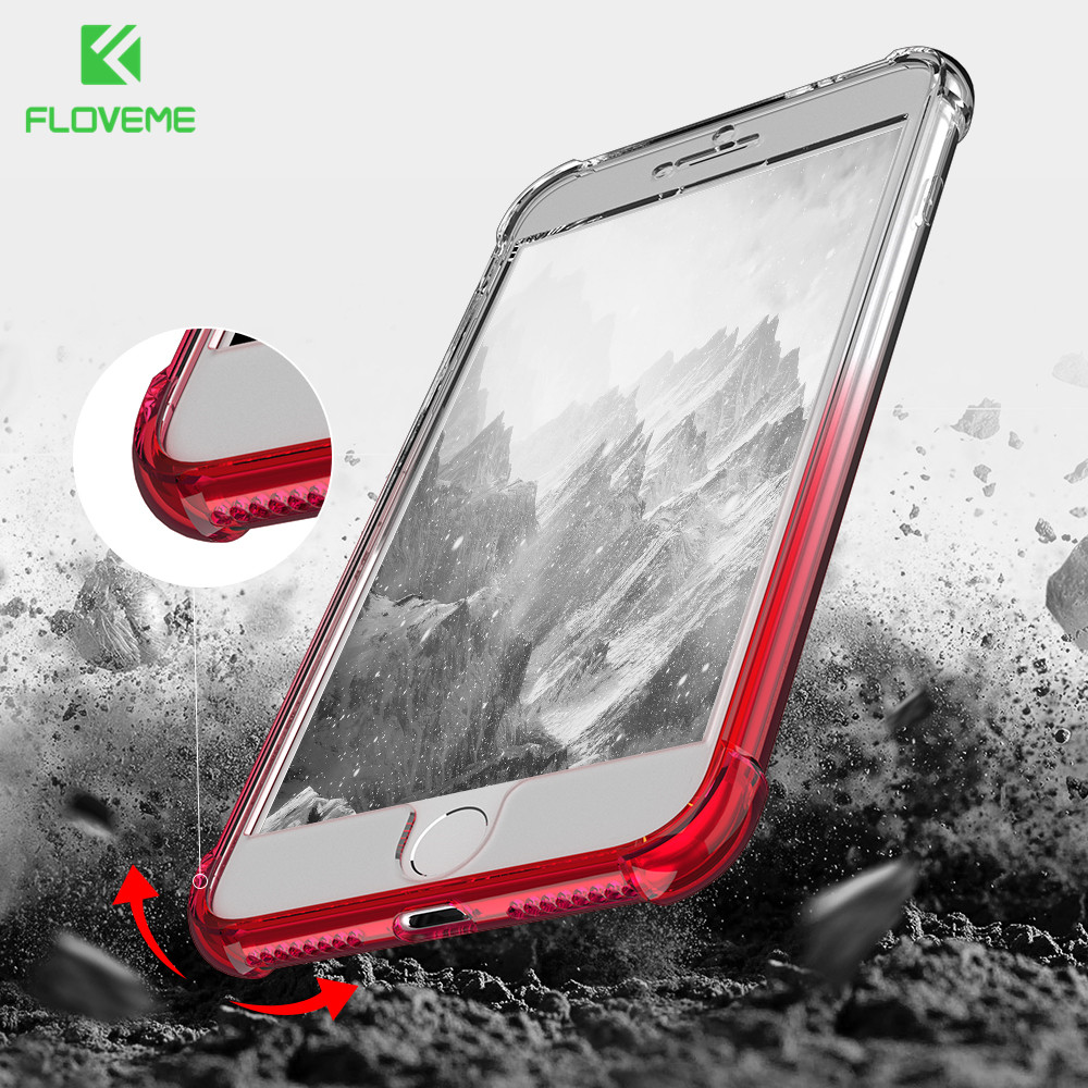 FLOVEME Luxury For iPhone 7 Case 6 6s 8 7 Plus 360 Protect Airbag Gradient Colorful Cover For Samsung Galaxy S8 Plus Case