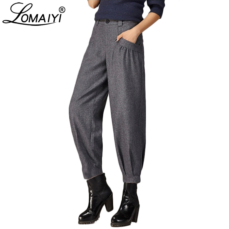 LOMAIYI Women's Autumn Winter Wide Leg Pants Women Korean Style Worsted Trousers Female High Waist Palazzo Harem Pants BW023