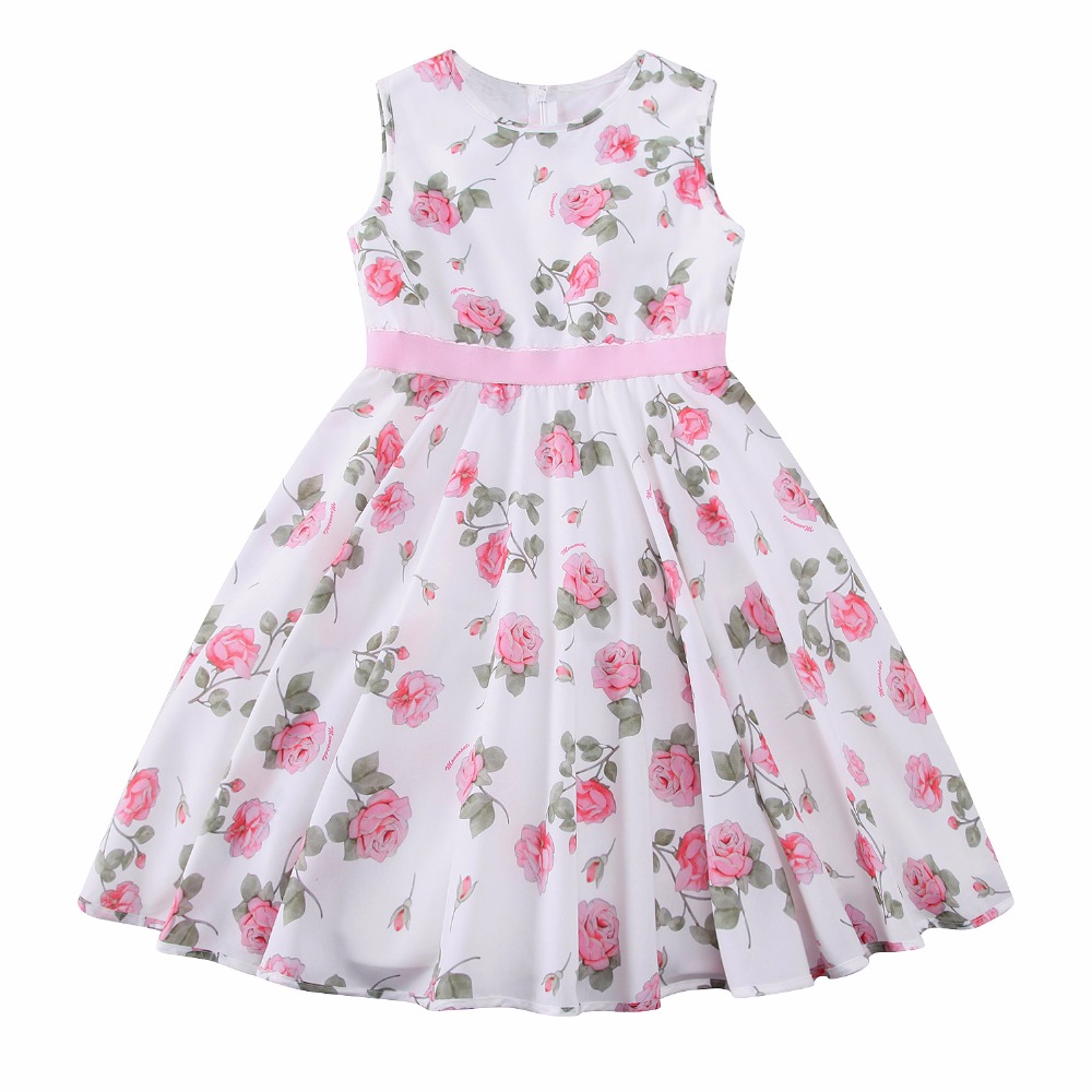 Baby gril clothes pink floral girl dress sleeveless Baby clothing designers