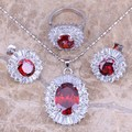 Red Created Garnet White CZ Silver Jewelry Sets Earrings Pendant Ring For Women Size 6 / 7 / 8 / 9 / 10  S0035
