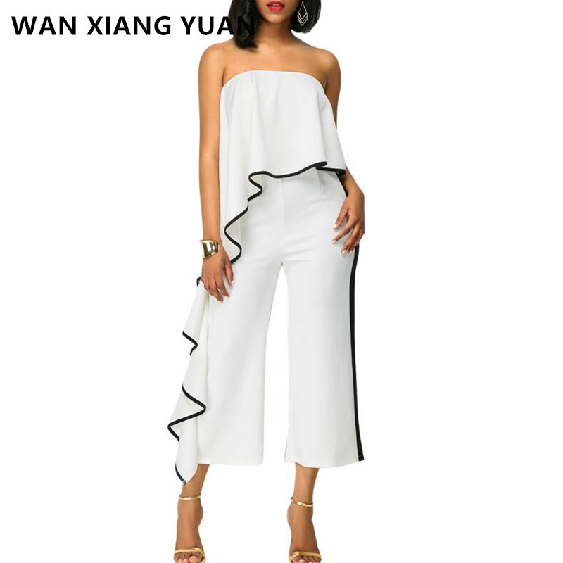 Jumpsuits for Women 2018 Summer Sexy Off the Shoulder Rompers Womens Jumpsuit Black White Red 0626