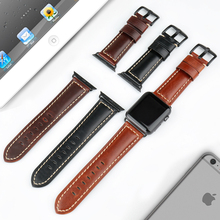 Watchband Genuine Leather Strap For Apple Watch Strap 42mm 38mm iWatch Watch Bracelet With Adapter Black Apple Watch Band