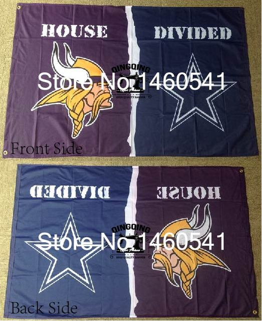 Minnesota Vikings Dallas Cowboys House Divided Flag 3ft X 5ft Polyester  NCAA Banner Flying Size No.4 144* 96cm QingQing Flag