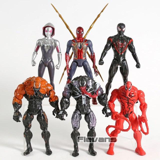Marvel Spiderman Venom Carnificina Milhas Morales Gwen Stacy PVC Figuras de Ação Colecionáveis Brinquedos Modelo 6 pçs/set