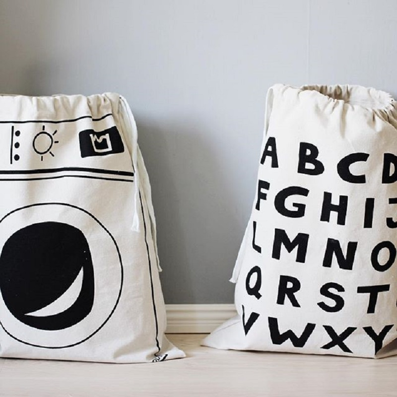 45*70cm Canvas Storage Bags for Toys Clothes Half Moon/Triangle/Grid Children Toy Storage Organizer Kids Laundry Basket Portable