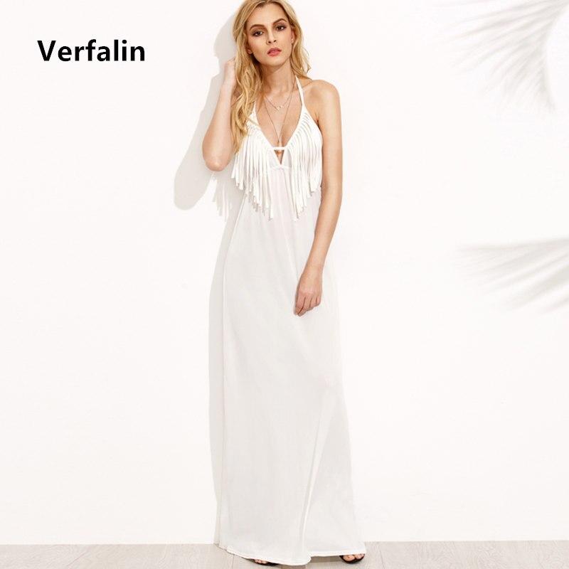 b33c10c08 Verfalin dress 2017 verão mulheres sexy profundo decote em v branco borla  longo boho vestidos meninas backless vestidos praia partido chão maxi dress  em ...