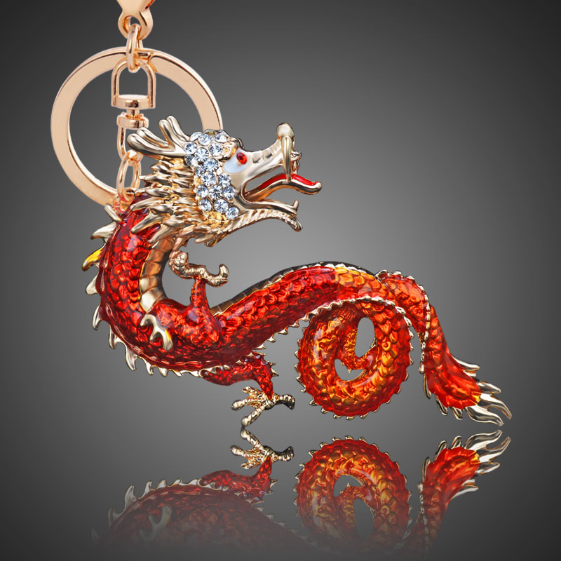 Creative Chinese <font><b>Dragon</b></font> <font><b>Shape</b></font> <font><b>Alloy</b></font> <font><b>Key</b></font> Chain Girls Bag Ornaments Exquisite Car Accessories for Women Chritmas Gift <font><b>Key</b></font> <font><b>Ring</b></font>