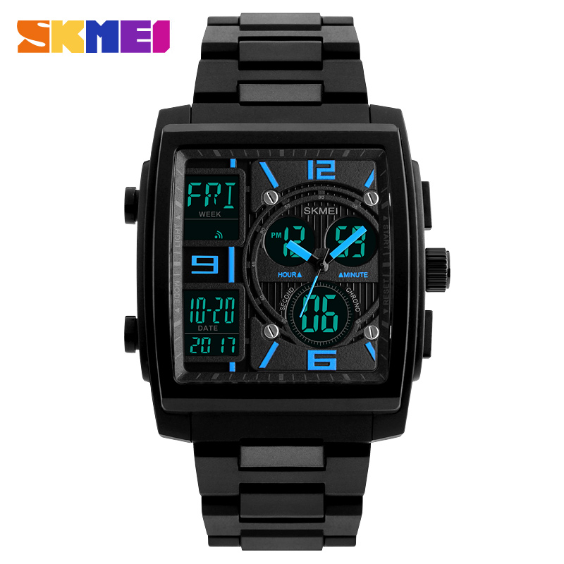 SKMEI Brand Men's Watch Multiple Time Zone Clock Men Quartz Digital Watches PU Dual Display Wristwatches Relogio Masculino 1274 splendid brand new boys girls students time clock electronic digital lcd wrist sport watch