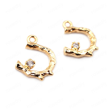 (33677)6PCS 13*9MM 24K Gold Color Brass Zircon C Shape Tree Branch Charms Pendants High Quality Jewelry Findings Accessories