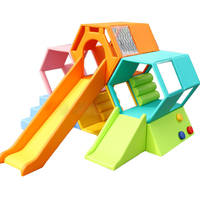 environmental PU software wooden frame and sponge bee play slide kids soft toy plant children playground set YLW INA171020