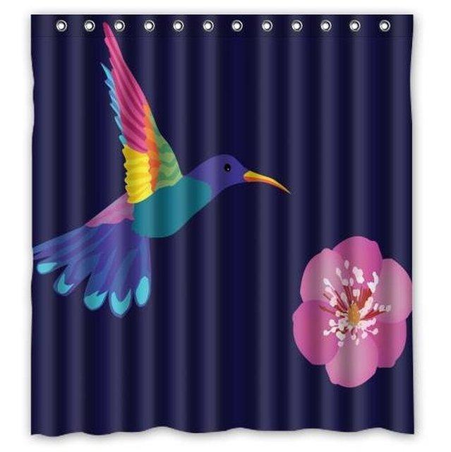 Custom Hummingbird Flower Home Decor Waterproof Bathroom Polyester Fabric  Shower Curtain 66(w) X