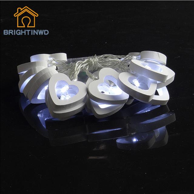 2 M 20 LED de La Batería Cadena de Amor Del Corazón de Madera Patio de Luz Para Chirstmas Garden Wedding Party Accesorios de Hadas Cadena luz