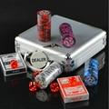 Чипы Покера Фишки Казино Техасский Холдем Покер Алюминиевый Бокс-Сет 100 Фишек + 2 Покер 5 Кости + 1 Дилер Fichas Покер Высокое Качество