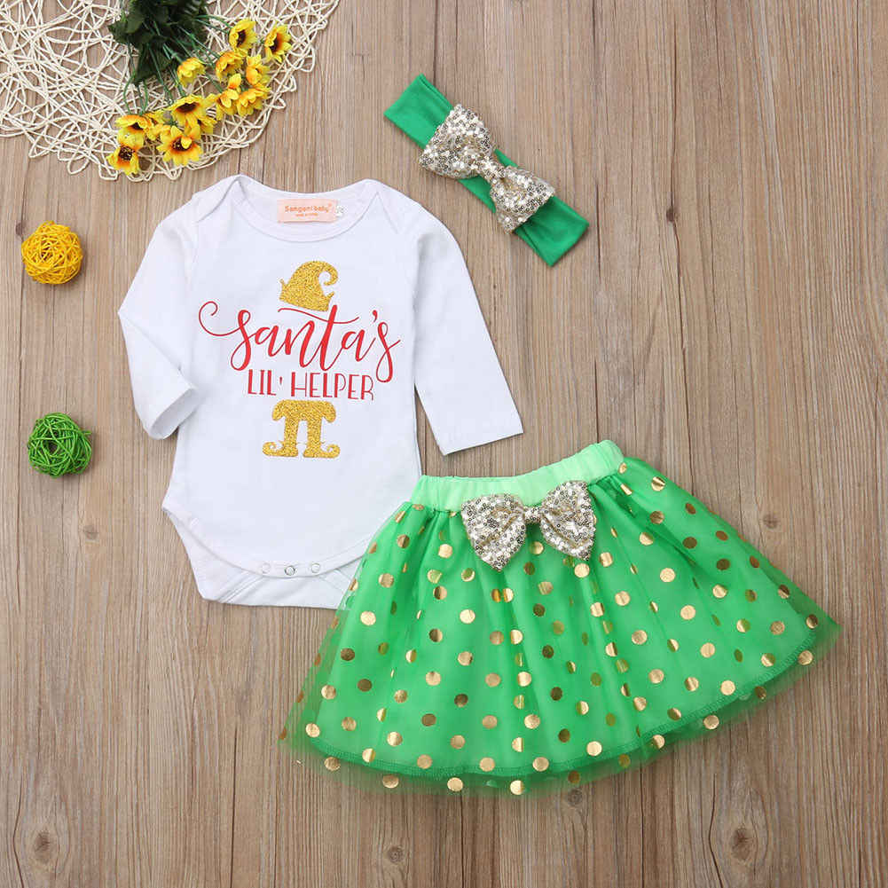 4d5665ec24dd Detail Feedback Questions about Baby Girl Christmas Clothes Set 2019 New  Year s Newborn Baby Girl Long Sleeve Xmas Romper+Dot Tulle Skirt Headband  3Pcs ...