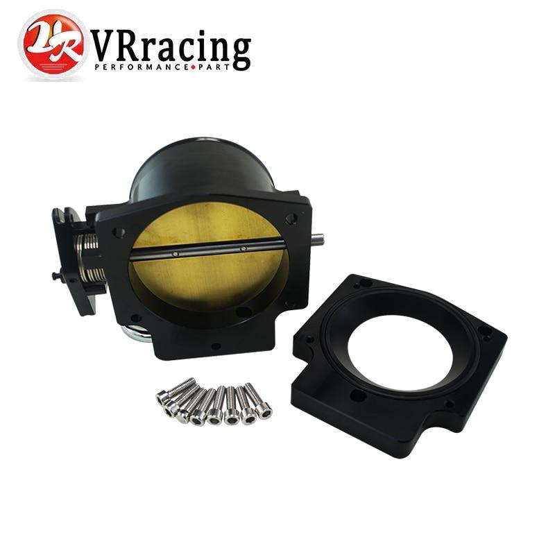 VR RACING - 102mm Throttle Body +Manifold Adapter Plate for LS LS2 LS3 LS6 LS7 LSX BLACK VR6938+TBS51