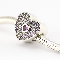 Silver Heart with Pink Cz Charm fits European pandora Style Bracelets S925 Sterling Silver Charm DIY jewelry wholesale