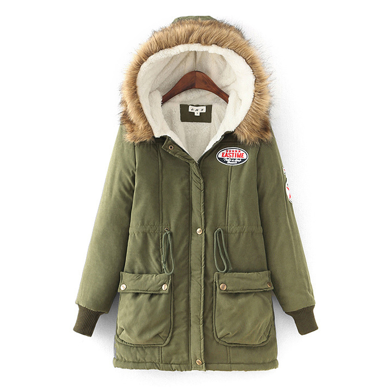 2017 New Women Padded Jacket Mujer Winter Medium-long Hooded Slim Thick Parkas Jaquetas Feminino Faxu Fur Collar Wool Liner Coat women s cotton padded long jacket winter leisure wild long cashmere wool liner coat casual pocket zipepr parkas mujer jy 805