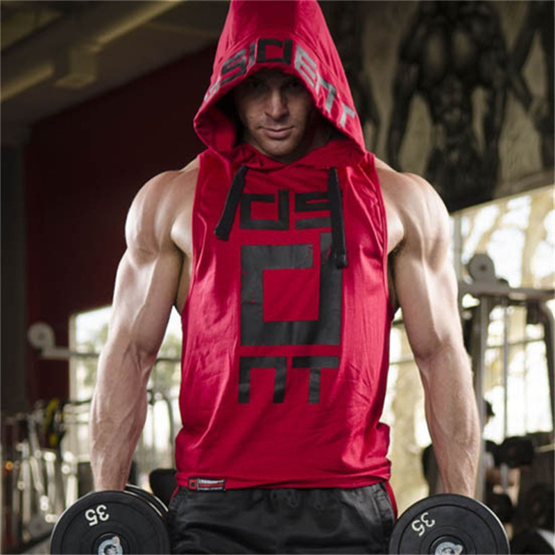 YEMEKE Cotton Tank Tops Hoodie Fitness Mens Bodybuilding Workout Tee fashion Muscle Male Activewear Red black white 2
