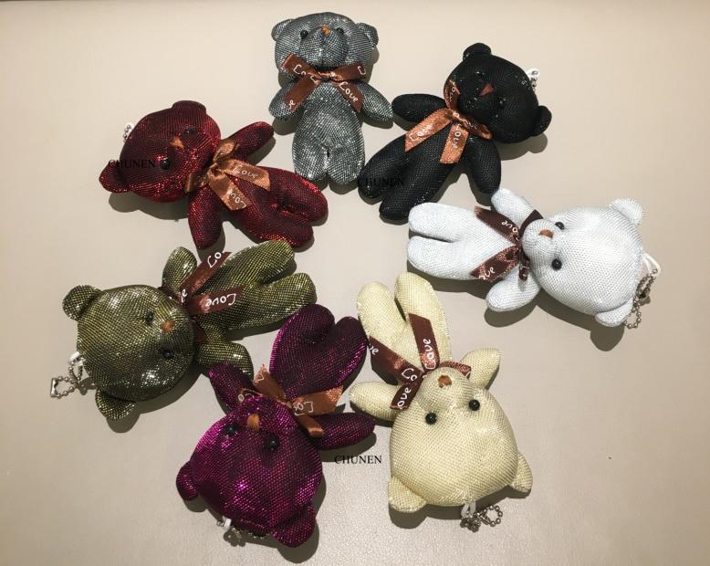 40 шт 11 см Красочный медведь мягкая игрушка кукла, брелок подвесные плюшевые игрушки куклы