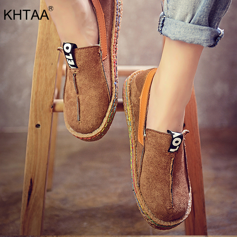 KHTAA Flock Shoes Woman Causal Flat Slip On Women Shoes Round Toe Oxford Spring Autumn Ladies Shoes Sewing Loafer 2018 Sneakers