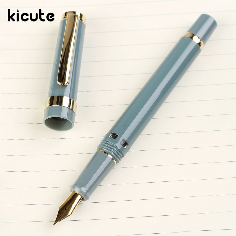 Kicute Golen Clip Piston Fountain Pen Set With Gift Box Lake Blue and Transparent Nib 0.5mm School Bussiness Stationery Supplies fountain pen 14 k solid gold nib original hero 100 with gift box office and school stationery the best gift free shipping