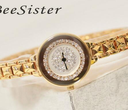 FA1409 Brand Luxury Crystal Gold Watches Women Fashion Bracelet Quartz Dress Watch Female Clock Relogio Feminino