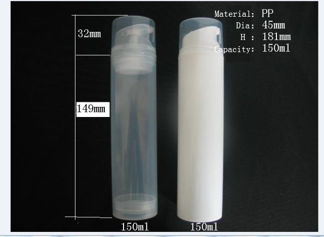 100pcs lot PP 150ml airless bottle white clear color airless pump bottle empty vacuum bottle