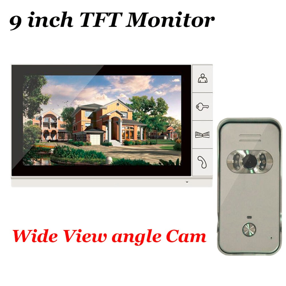 Home Security 9 inch TFT Monitor Video Door phone Intercom System With Night Vision Outdoor 700TVL Wide Angle Camera IN STOCK 7 inch video doorbell tft lcd hd screen wired video doorphone for villa one monitor with one metal outdoor unit night vision