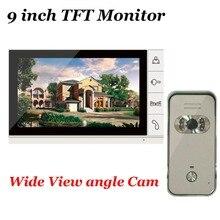 9 pulgadas TFT Monitor de Seguridad para el hogar Video de La Puerta de Intercomunicación teléfono Con sistema de Visión Nocturna 700TVL Al Aire Libre Cámara De Gran Angular EN STOCK