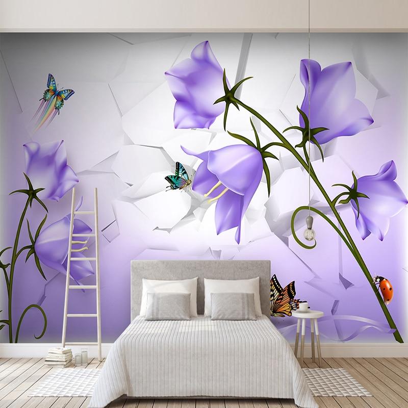 Custom 3D Wallpaper Modern Beautiful Purple Flower