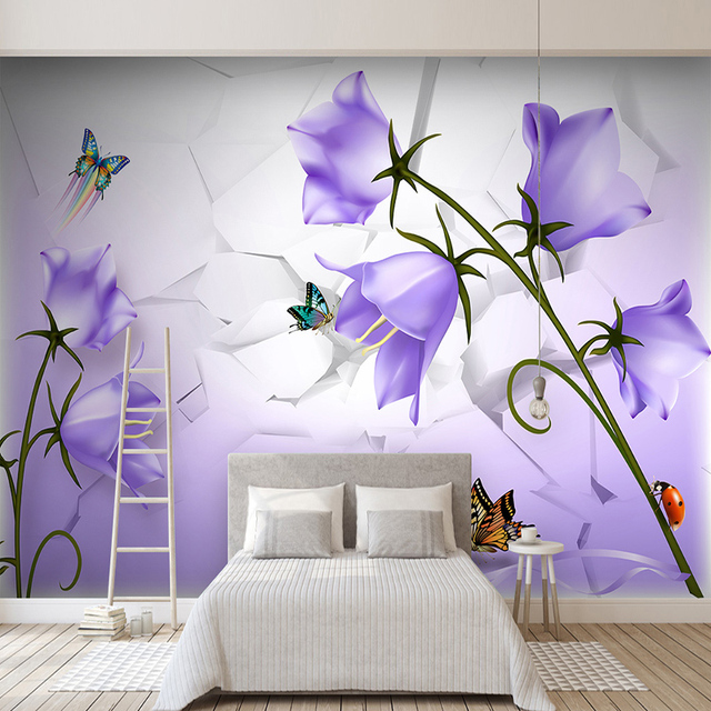 purple living flower butterfly bedroom murals walls sofa papers empty mural wallpapers flowers mouse painting