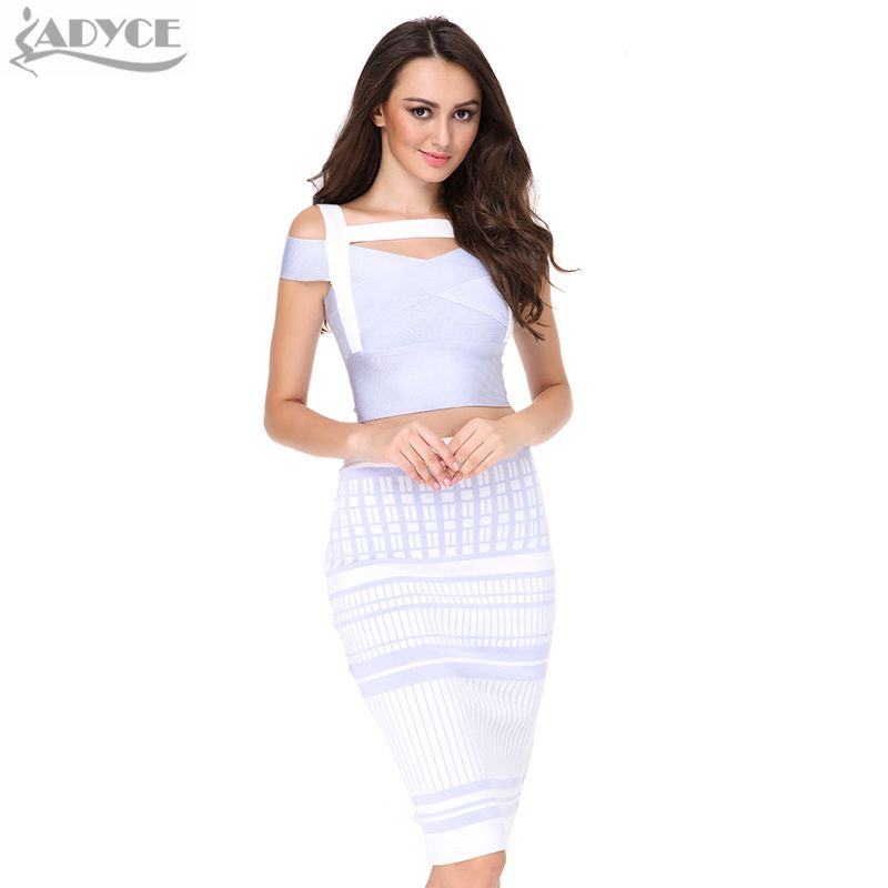 ADYCE 2019 Summer Bandage Dresses Women Two 2 Pieces Spaghetti Strap Sexy Hollow Out Celebrity Bodycon