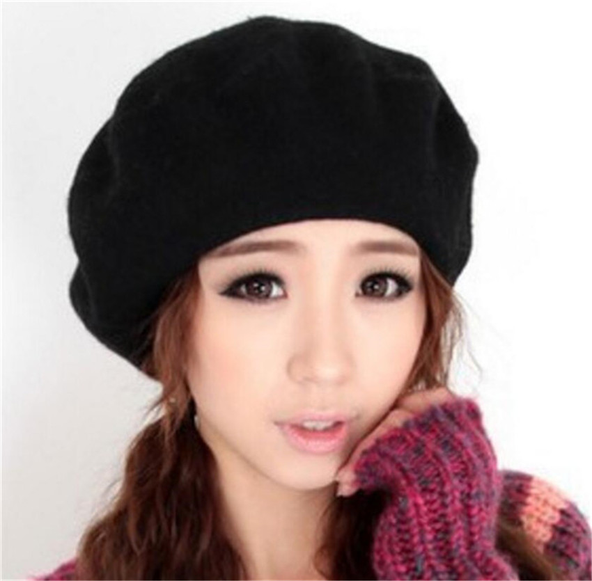 French Style New Fashion Solid Color Warm Wool Winter Hats For Women Girls Casual Vintage Berets Beanie Hat Caps 12 Colors Cap