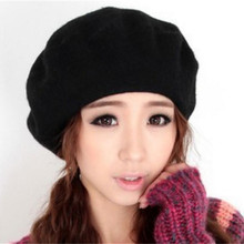 French Style New Fashion Solid Color Warm Wool Winter Hats for Women Girls Casual Vintage B
