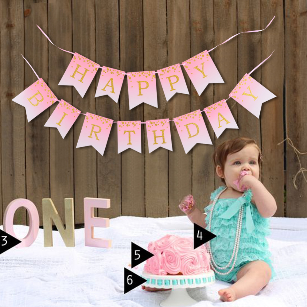 Gold Glitter Polka Dots Blush Pink Happy Birthday Banner Garland Bunting Baby Girl First ...