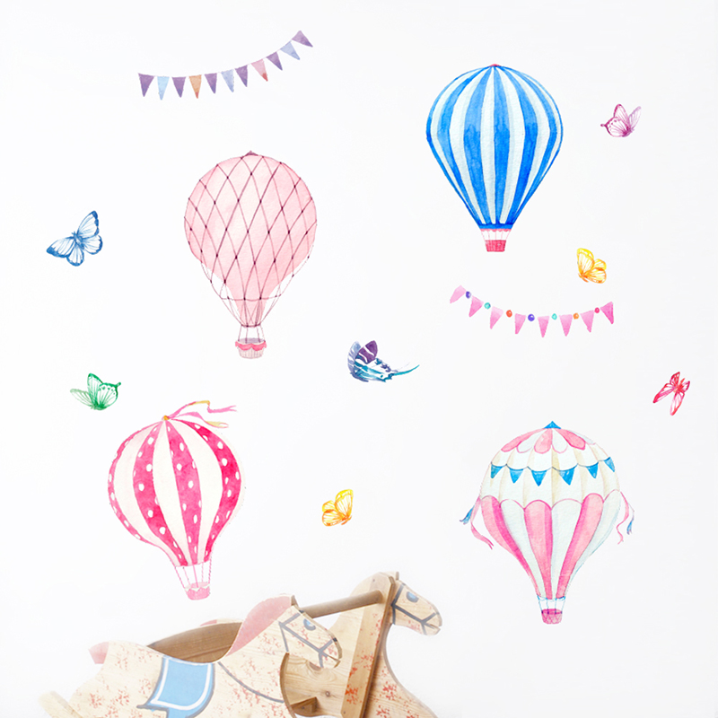 Colorful Hot Air Balloon Wall Stickers Home Decor For  Living Room Bedroom Accessories PVC DIY Mural Art Kids Room Decals Gift